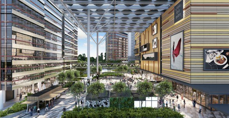 artist impression of paya lebar quarter, plq plaza mall and office towers.