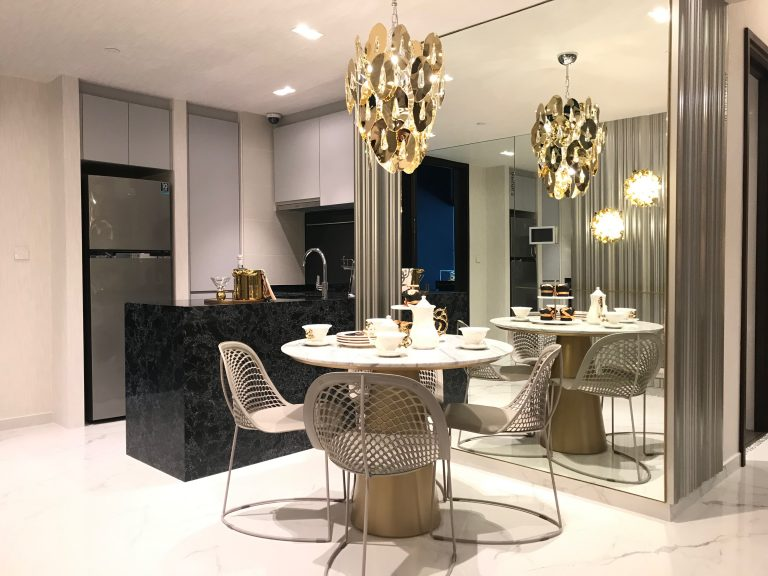 The Lilium showflat dining area with luxury lighting. Picture: iProperty