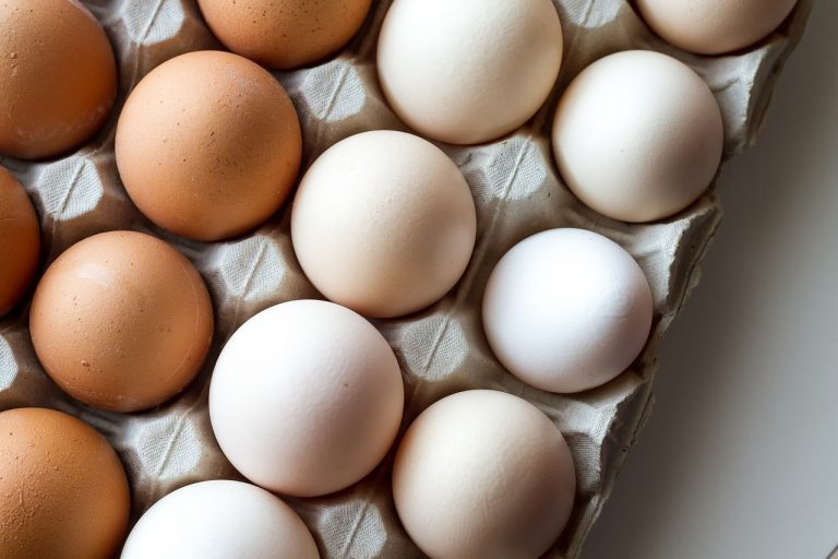 Tray of eggs. Save the shells after peeling your hard-boiled eggs.