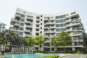 entrance of reflections at keppel bay condo in singapore