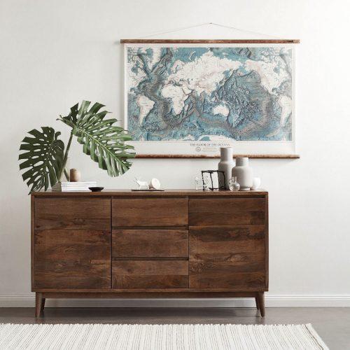 Wooden storage chest of drawers with minimalist design