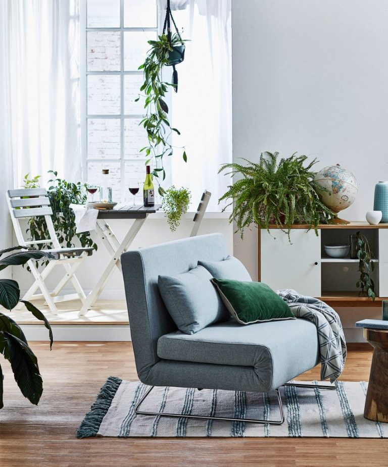 living room space with grey sofa