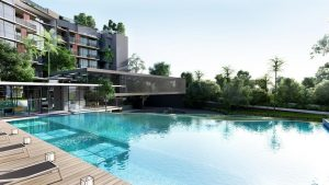 swimming pool with greenery, in daintree residence condo