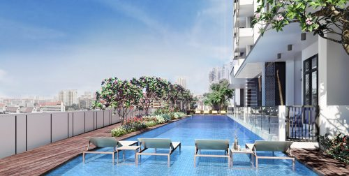Artist impression of the swimming pool in Uptown @ Farrer.