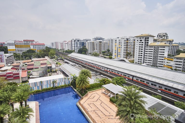 View of the MRT and swimming pool in Yew Tee Residence. Picture: iProperty