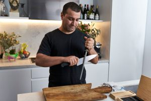 Melbourne chef Coskun Uysal takes care of his knife at home every day.
