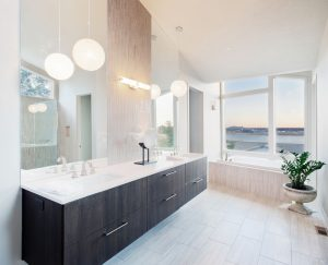 master bathroom with cabinets