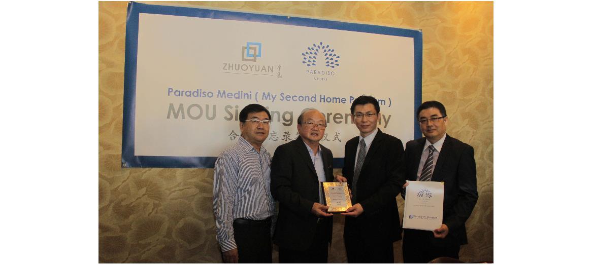 "Zhuoyuan Iskandar signs MOU with Medini Iskandar Malaysia Sdn Bhd for Paradiso Medini ""My Second Home Program"""