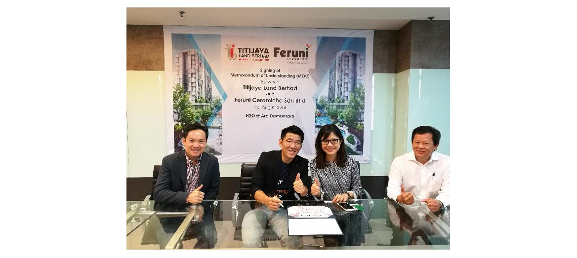Titijaya Land Berhad collaborates with Feruni Ceramiche for tile supply for its H2O Development