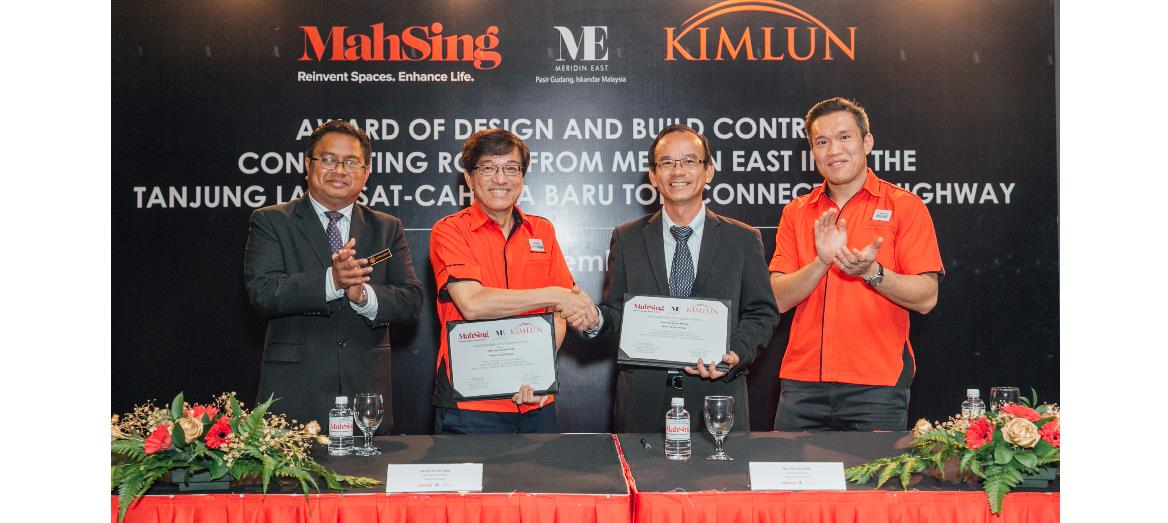 Meridin East gets an added boost as Mah Sing awards Kimlun Group RM50 million design and build contract to build a connecting road into Senai Desaru Expressway