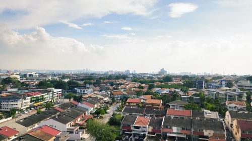 Skyline of the SS2 neighborhood of Petaling Jaya with houses, schools, and commercial buildings in the background, Selangor, Malaysia