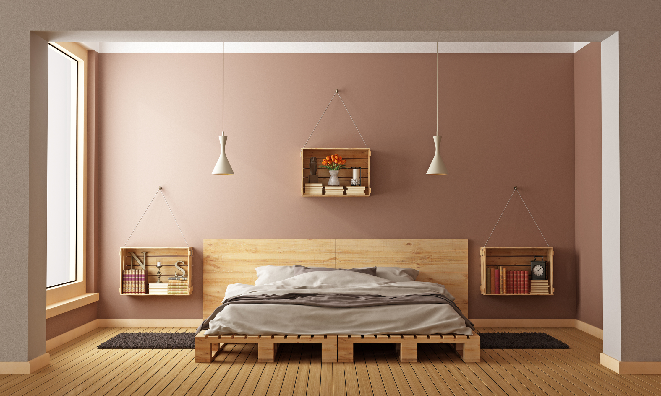 Bedroom with pallet bed and wooden crates