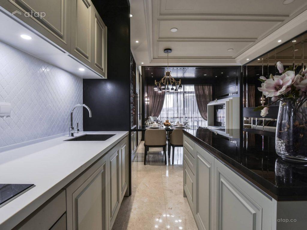 monochrome kitchen design in an apartment