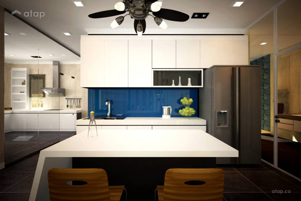 White kitchen with an island and a blue backsplash