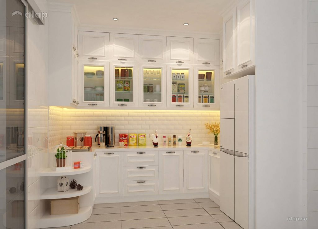 All white kitchen design with a pantry cabinet and a white refrigerator