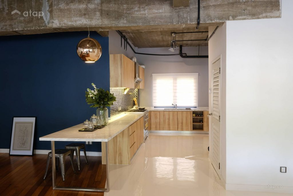 retro kitchen design with wooden cabinetry