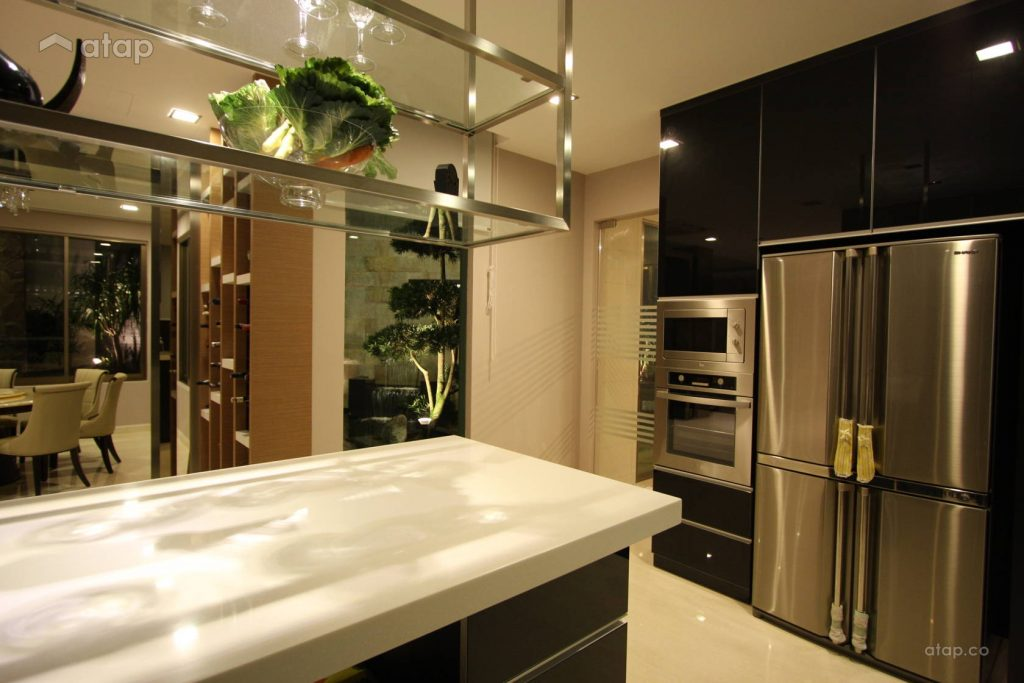 modern kitchen with black and silver theme.