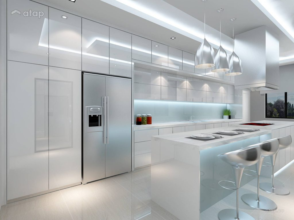 white minimalist kitchen with clean lines and pendant lights