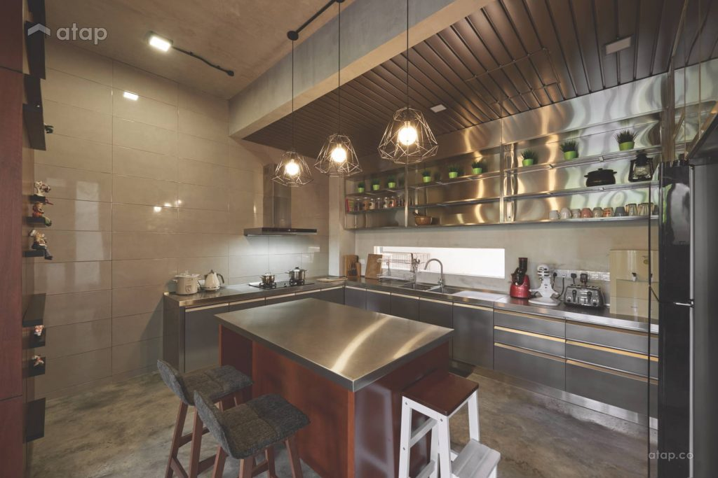 industrial design kitchen with stainless steel kitchen top and cabinet
