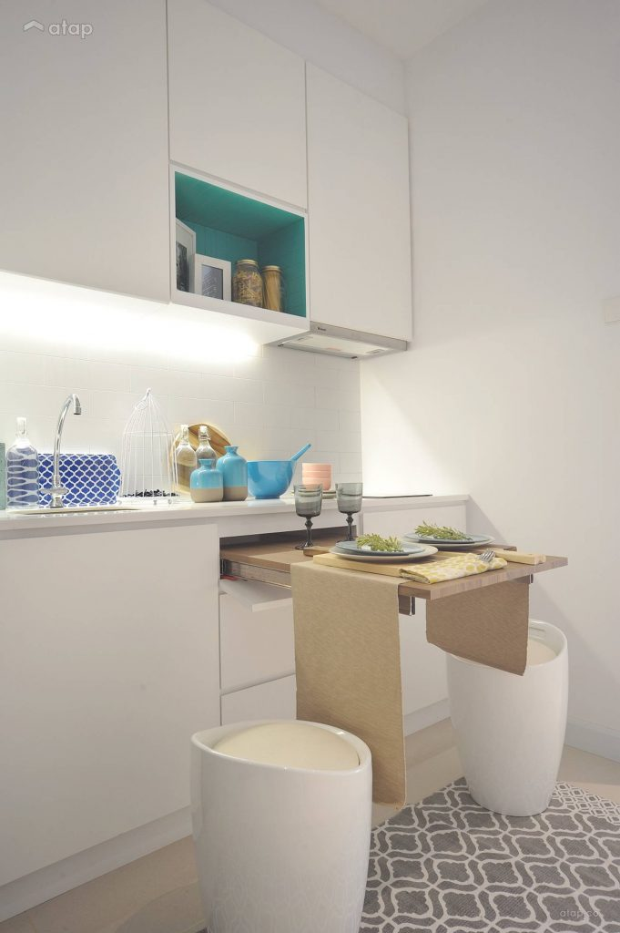 compact kitchen that comes with a pull out table