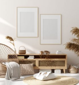 beige room with natural wooden furniture
