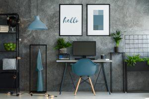 Stylish turquoise and gray interior