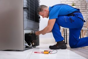 serviceman cleaning refrigerator