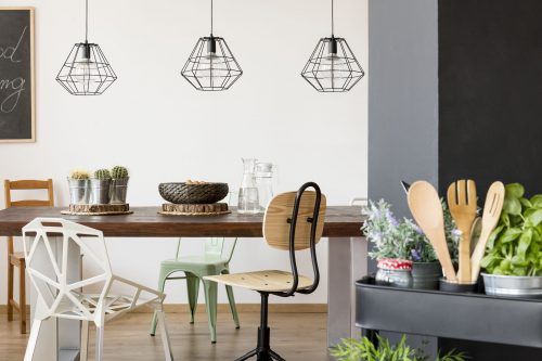 Communal table and pendant lamps