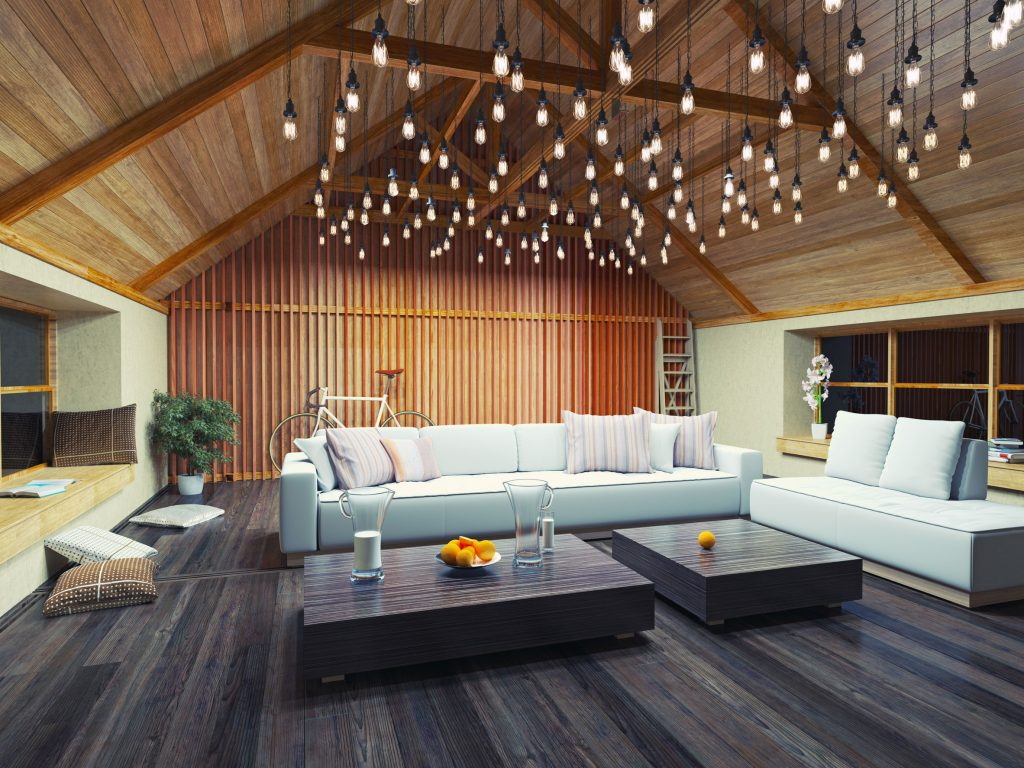 modern interior loft with laminated timber