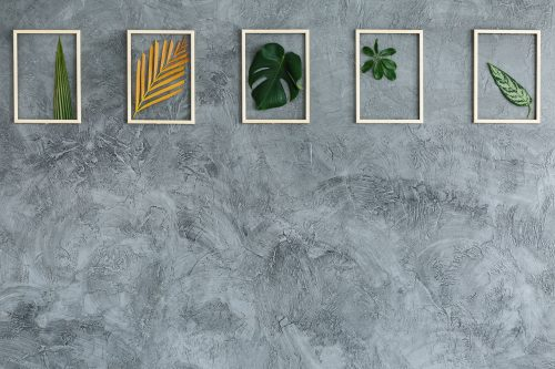 Leaves in wooden frames