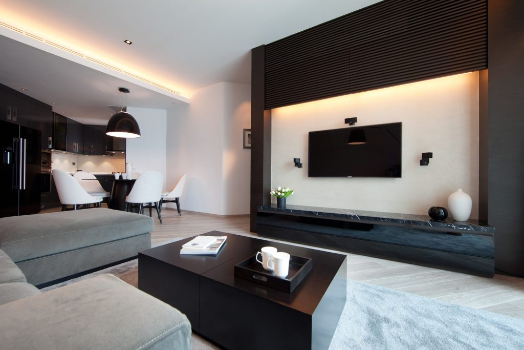 Elegant Simple Living Room With Tv Console Design Feature Wall Jpg Living Room 1024x683 Orig Iproperty Com My