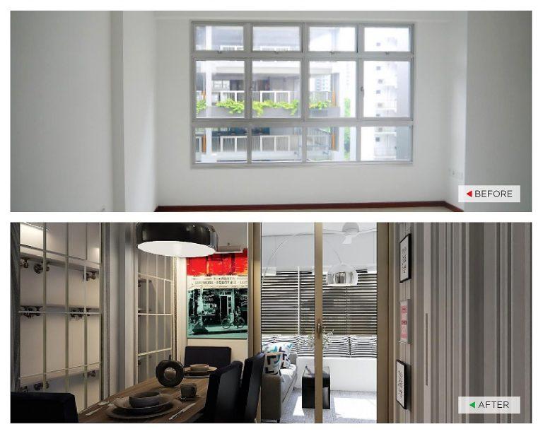 之前:不平均的墙壁表面和曝光的柱子。 之后:全高柜可掩饰不平均的墙壁和柱子,储藏室门则用滑动门来代替。