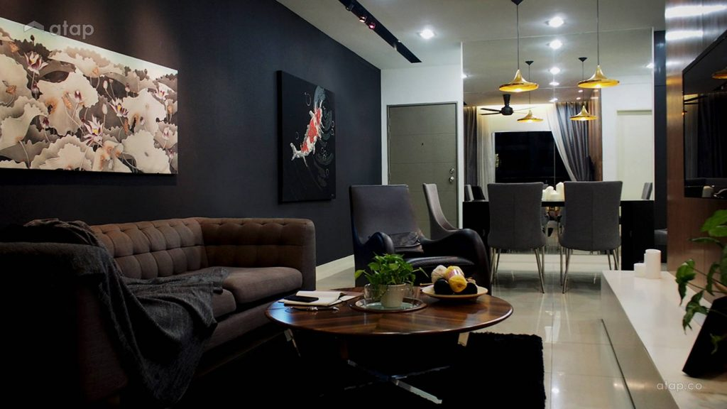 Going dark can bring elegance to a minimalistic living room