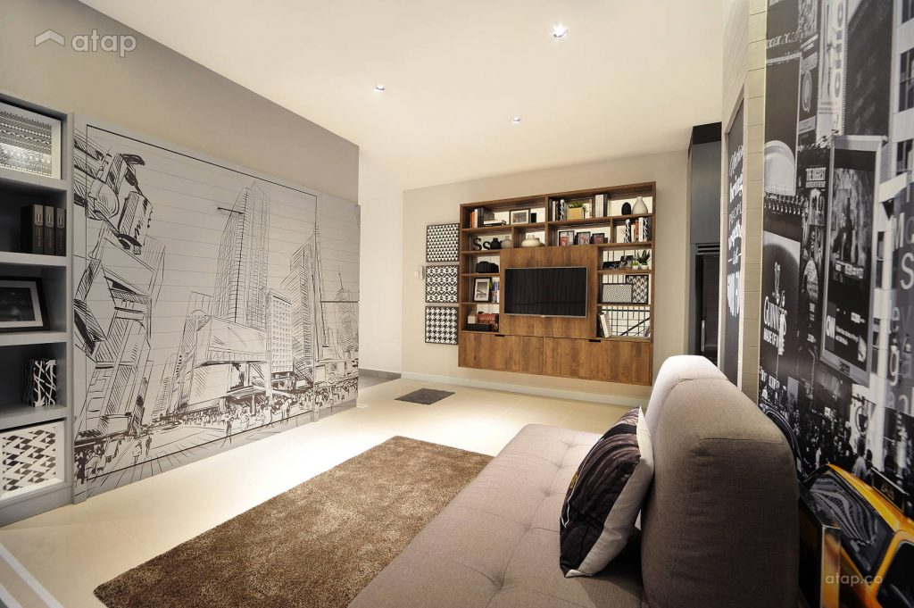 Go for an accent wall when creating a minimalistic living room. It works as a focal point too.