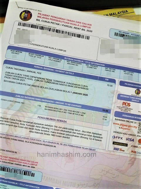 Contoh bil cukai petak di Malaysia