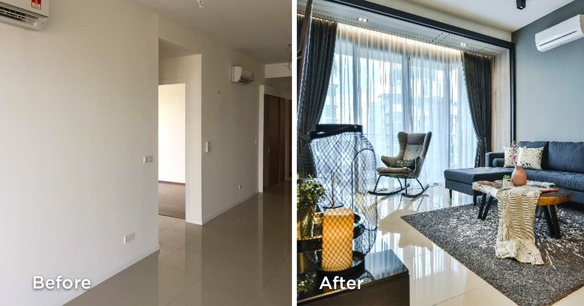 Before and after living hall renovations