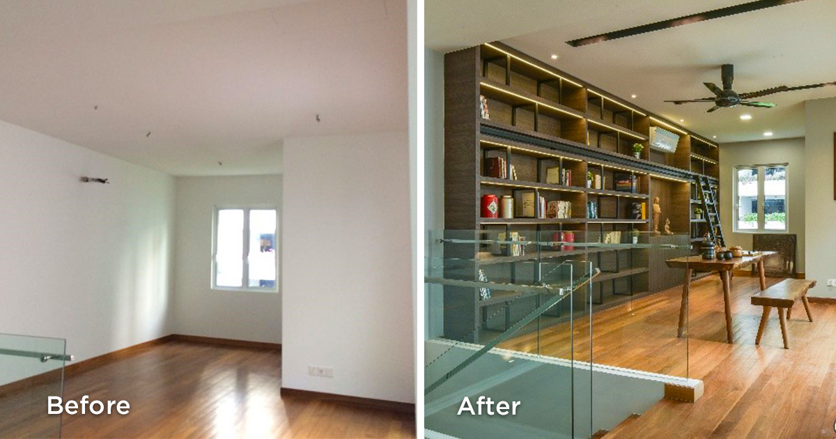 Before and after study room renovations