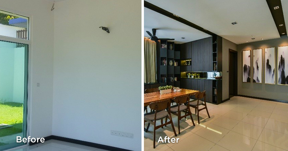 Before and after kitchen area renovations