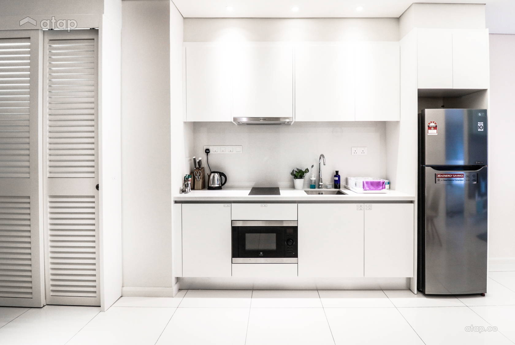 single-wall-all-white-kitchen-with appliances