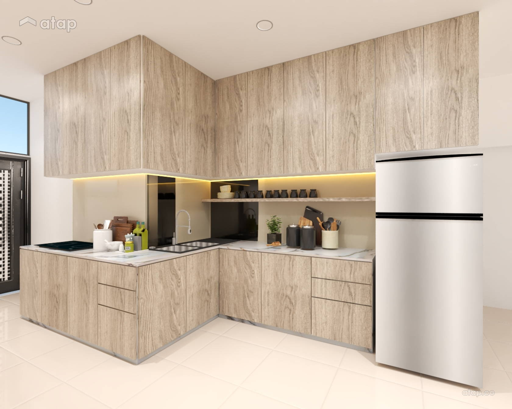 single-wall-kitchen-with-laminated-and-wooden-cabinet