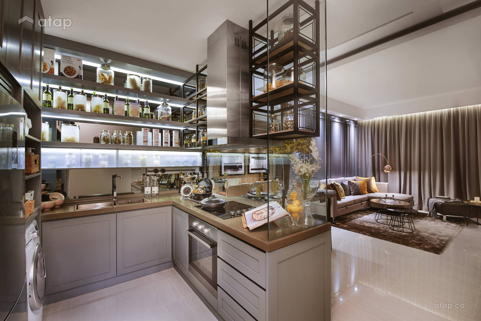 u-shaped-kitchen-with-open-shelving
