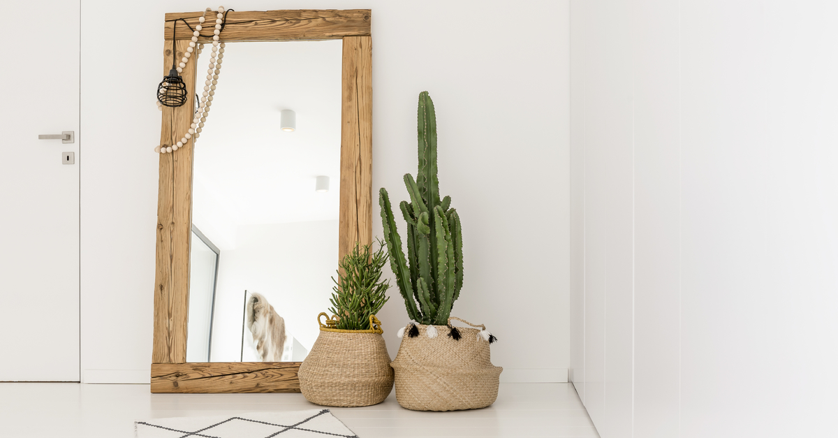 rectangular-shaped-mirror-standing-upright-against-a-wall-with-two-baskets-of-indoor-plants-next-to-them