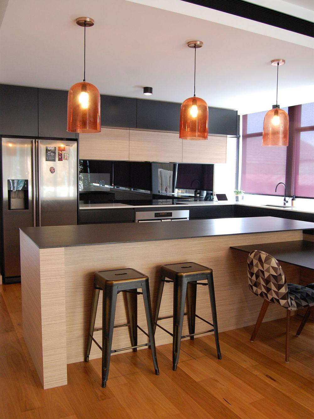 Contemporary black home kitchen cabinet ideas