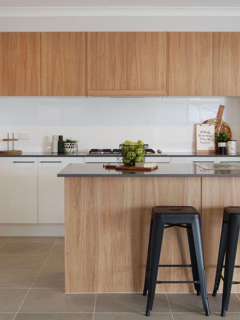 Contemporary oak home kitchen cabinet ideas