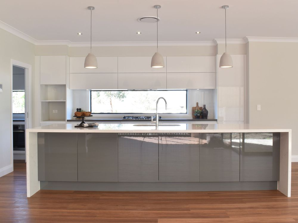 Contemporary white and grey home kitchen cabinet ideas