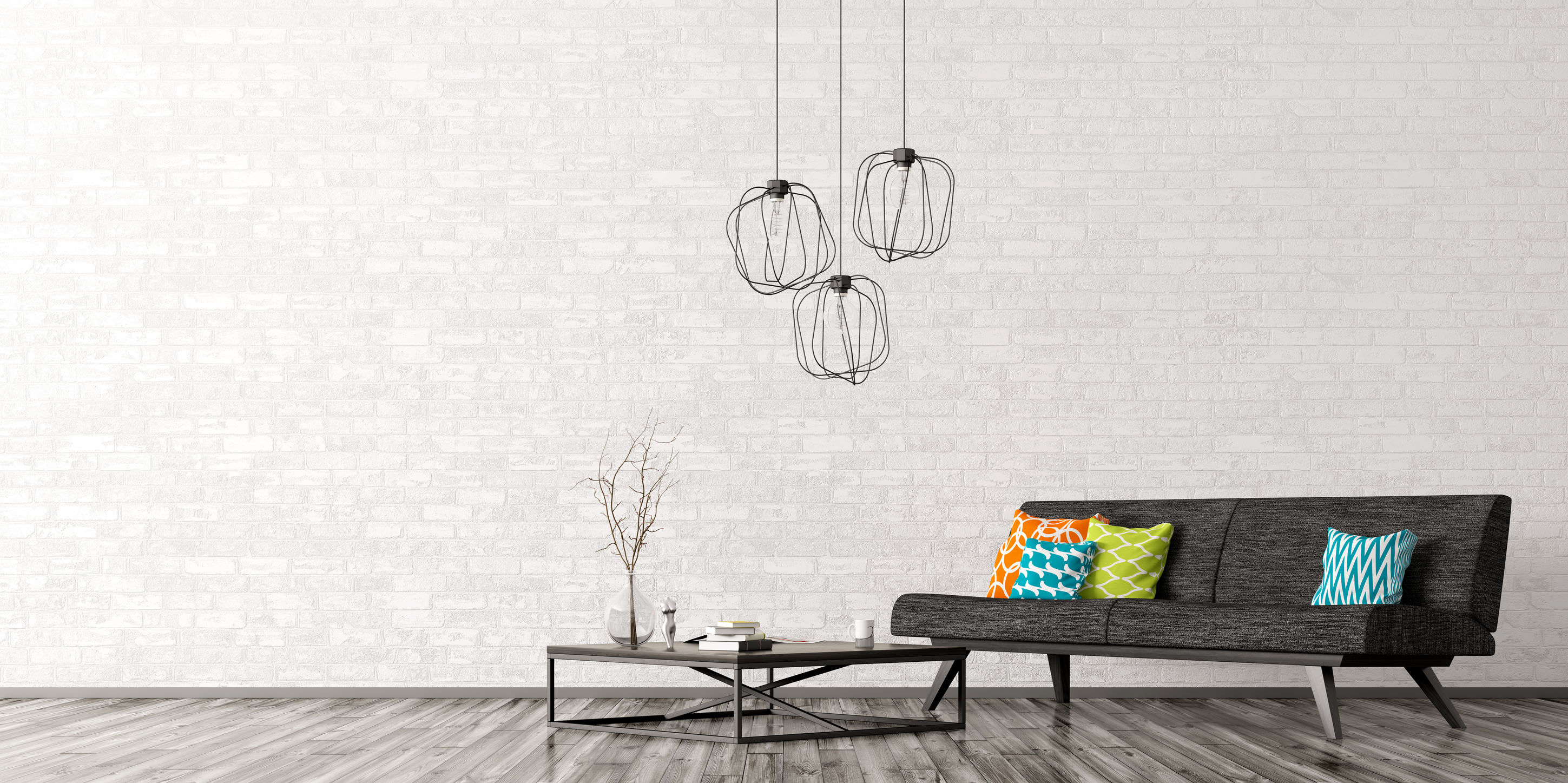 interior-of0living-room-with-black-sofa-coffee-table-lamps-over-brick-wall