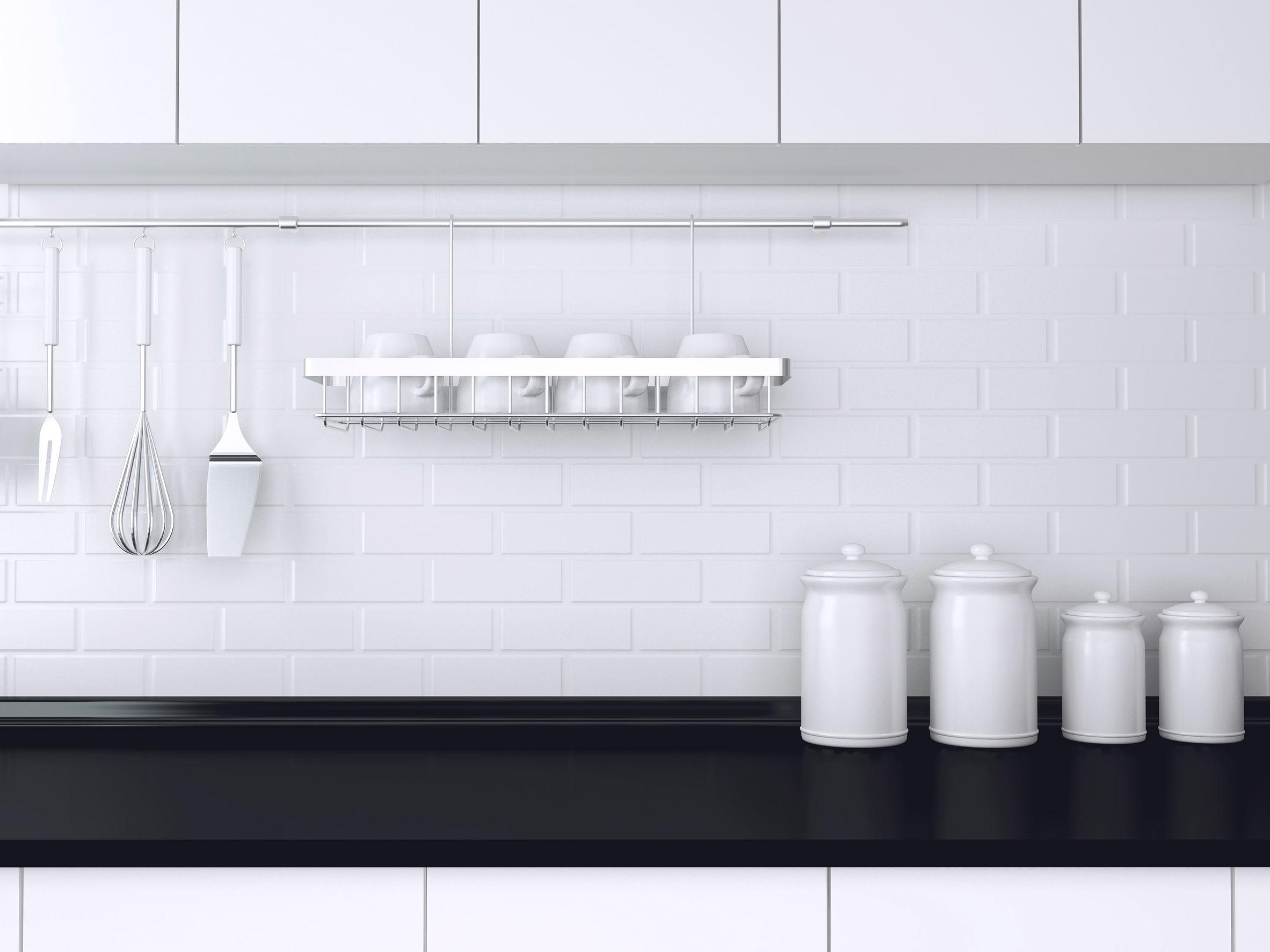 Black and white kitchen design.