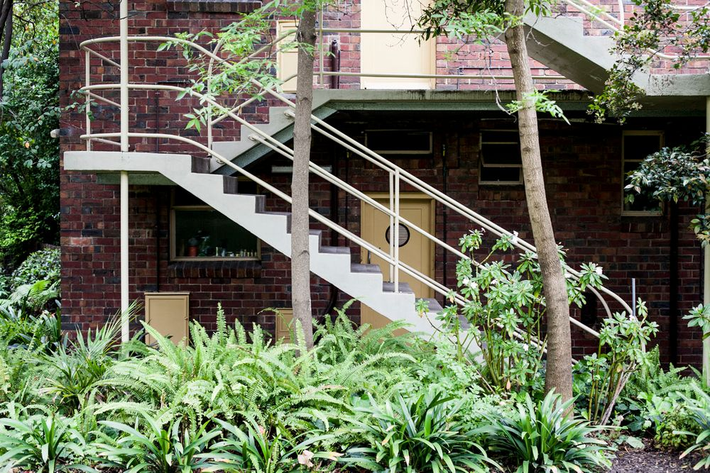 exterior of a home with stairs leading up to it and plants surrounding it