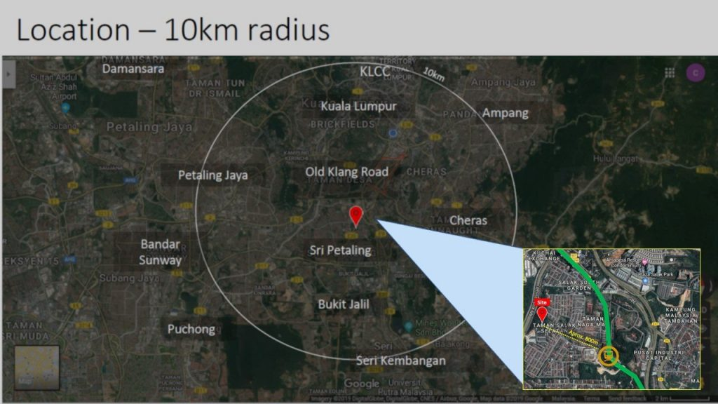 Map of Kuchai Lama's location radius