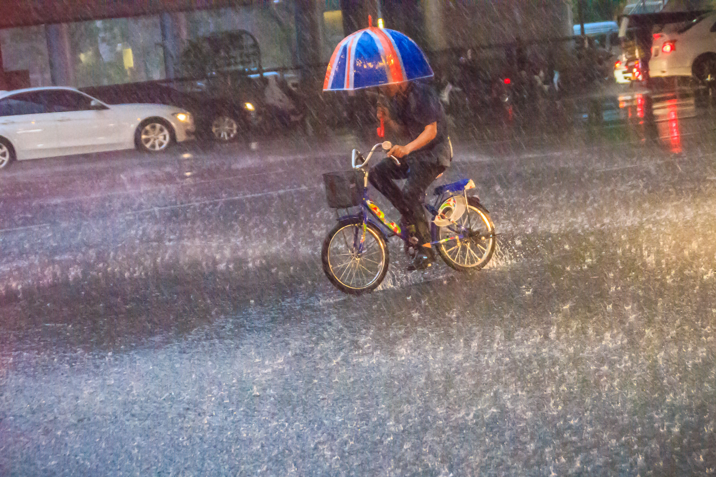 A man is ridding the bicycle under a heavy rain on the street in the evening. Unidentified man is riding a bicycle and carrying an umbrella in heavy rain on a street.